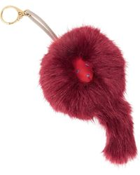 Shrimps Lenny Faux Fur Key Fob - Red