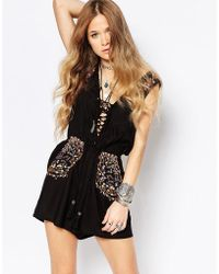 Glamorous Playsuit With Festival Embroidery - Black