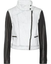 Rag & Bone Leather-paneled Denim Biker Jacket - Lyst