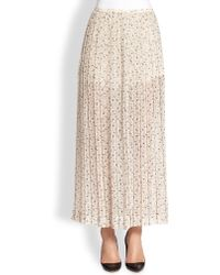 See By Chloé Pleated Printed Maxi Skirt beige - Lyst