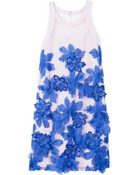 Rebecca Taylor Sleeveless Floral Organza Dress - Lyst