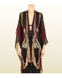 Gucci Black Silk Chiffon Embroidered Kaftan