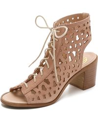 House of Harlow 1960   Lorelai Lace Up Suede Sandals - Nude   Lyst
