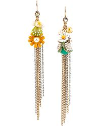 Betsey Johnson Flower Child Faux Pearl Mismatched Chain Drop Earrings - Lyst