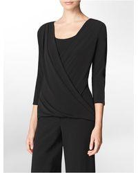 Calvin Klein White Label Faux Leather Trim V-Neck Drape Front 3/4 Sleeve Top - Lyst