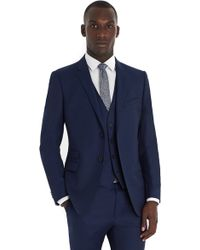 French Connection Slim Fit Bright Blue Milled 3 Piece Suit