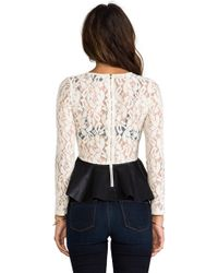 Blaque Label - Leatherette Peplum Top in Ivory - Lyst