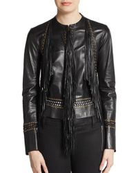 Roberto Cavalli Leather Fringe Jacket - Lyst