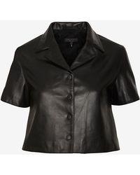 Rag & Bone Cropped Leather Shirt - Lyst