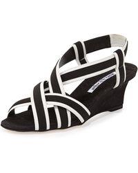 Manolo Blahnik Lasti Crisscross Wedge Sandal - Black