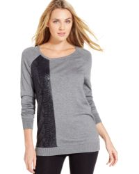 Calvin Klein Jeans Long-Sleeve Mixed-Media Tunic Sweater - Lyst