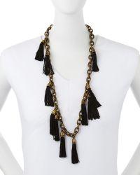 Lela Rose - Tassel Chain Link Necklace - Lyst