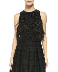 Tibi Cera Tuxedo Feathered Cropped Top - Lyst