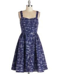 ModCloth On A Barrel Roll Dress in Navy - Lyst