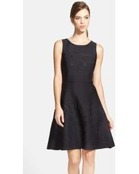Vera Wang Embossed Scuba Fit-and-Flare Dress black - Lyst
