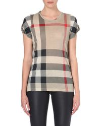 Burberry Checked Jersey Tshirt New Classic - Lyst