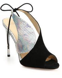 Alexandre Birman Metallic Python & Suede Tie Sandals - Lyst