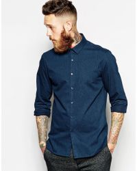 Asos Smart Shirt in Twill with Long Sleeves - Lyst