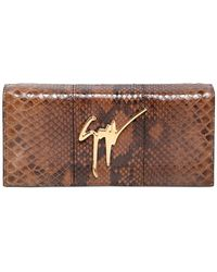Giuseppe Zanotti Python Embossed Leather Clutch - Lyst