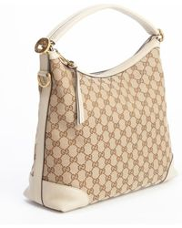 Gucci Beige and Cocoa Gg Canvas Miss Gg Shoulder Bag - Lyst