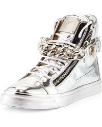 Giuseppe Zanotti Mens Metallic Chain & Zipper High-Top Sneaker - Lyst