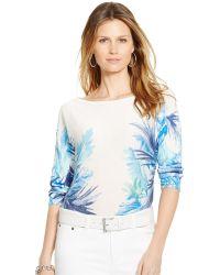 Lauren by Ralph Lauren Tropical-Print Sweater - Lyst