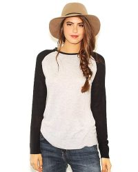 Olivaceous - Sweater With Leather Neckline In Black/Gray - Lyst