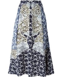 Stella McCartney 'Tessa' Cloud Appliqué Silk Crepe Skirt blue - Lyst