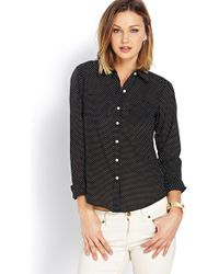 Forever 21 Polka Dot Cropped Blouse - Lyst