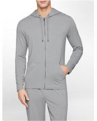 Calvin Klein Underwear Ck Black Cotton Modal Hoodie gray - Lyst