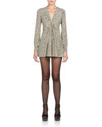 Saint Laurent Silk Printed Flared Dress - Lyst