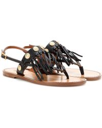 Valentino C-Rockee Fringed Leather Sandals - Lyst
