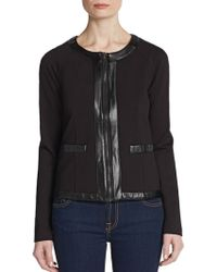 Saks Fifth Avenue Black Label - Faux Leather-Trimmed Cropped Jacket - Lyst