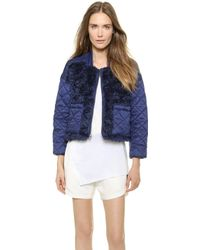 Tess Giberson - Quilted Jacket With Mohair - Sapphire/Sapphire - Lyst