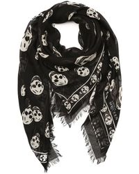 Alexander McQueen Black and White Woven Skull-printed Scarf - Lyst