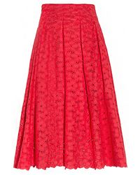 Pixie Market Red Lace Midi Skirt - Lyst