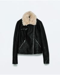 Zara Fur Collar Jacket black - Lyst