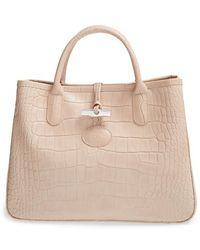 Longchamp Roseau Croc Shoulder Bag 35