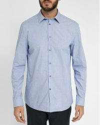 Calvin Klein | Blue End-on-end Cloth Stretch Chambray Shirt | Lyst