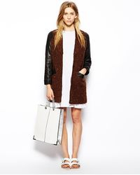 Le Mont St Michel - Jacket with Contrast Leather Sleeves - Lyst