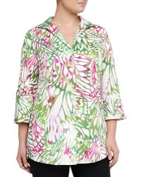 Lafayette 148 New York Graphic-print Poplin Tunic Dahliamulticolor - Lyst