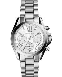 Michael Kors Women'S Chronograph Mini Bradshaw Stainless Steel Bracelet Watch 36Mm Mk6174 - Lyst
