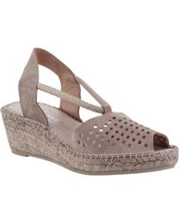 Andre Assous Connie Wedge Espadrille Taupe Suede beige - Lyst