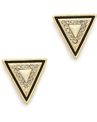 House of Harlow 1960 - Triangle Stud Earrings - Gold/Ivory - Lyst