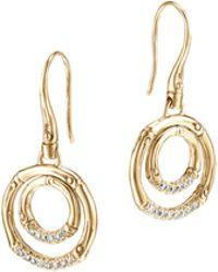 John Hardy Bamboo 18K Gold & Diamond Drop Earrings - Lyst