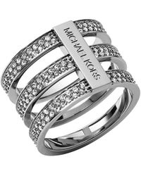Michael Kors Triplestack Pave Ring Silver Color 8 - Lyst
