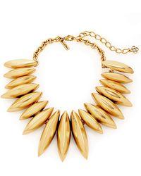 Oscar de la Renta Gold-Plated Disk Necklace - Lyst