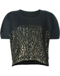 Pleats Please Issey Miyake Cropped Pleated T-shirt - Black