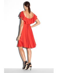 Milly Silk Stretch Crepe Emmaline Dress red - Lyst