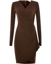 Michael Kors Long Sleeved Wrap Dress - Lyst